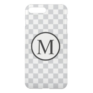 Simple Monogram with Grey Checkerboard iPhone 7 Plus Case