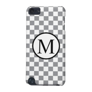 Simple Monogram with Grey Checkerboard iPod Touch 5G Cover