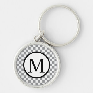Simple Monogram with Grey Checkerboard Key Ring