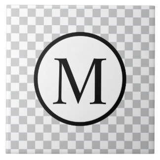 Simple Monogram with Grey Checkerboard Large Square Tile