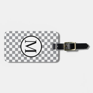 Simple Monogram with Grey Checkerboard Luggage Tag