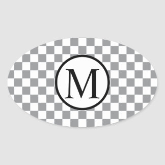 Simple Monogram with Grey Checkerboard Oval Sticker