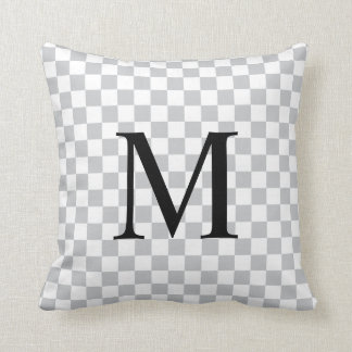 Simple Monogram with Grey Checkerboard Pattern Cushion