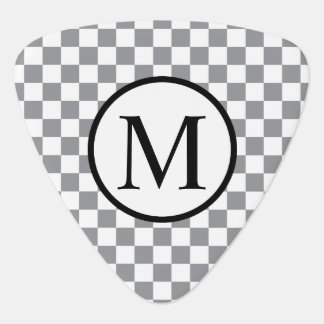 Simple Monogram with Grey Checkerboard Plectrum