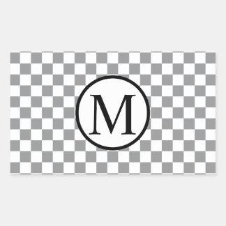 Simple Monogram with Grey Checkerboard Rectangular Sticker
