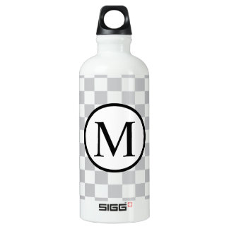 Simple Monogram with Grey Checkerboard SIGG Traveller 0.6L Water Bottle