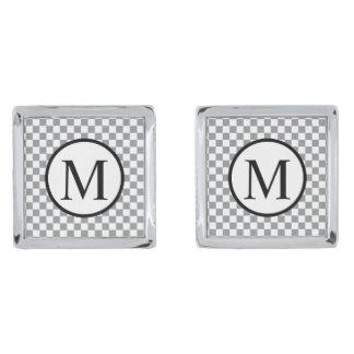 Simple Monogram with Grey Checkerboard Silver Finish Cufflinks