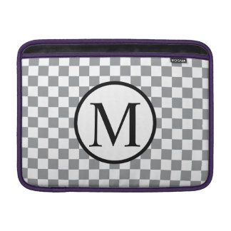 Simple Monogram with Grey Checkerboard Sleeve For MacBook Air