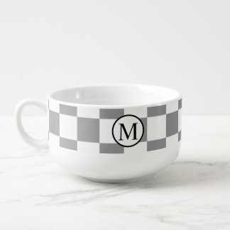 Simple Monogram with Grey Checkerboard Soup Mug