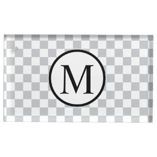 Simple Monogram with Grey Checkerboard Table Card Holder