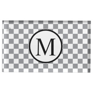 Simple Monogram with Grey Checkerboard Table Number Holder