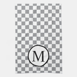 Simple Monogram with Grey Checkerboard Tea Towel