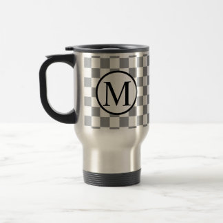 Simple Monogram with Grey Checkerboard Travel Mug
