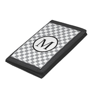 Simple Monogram with Grey Checkerboard Trifold Wallets