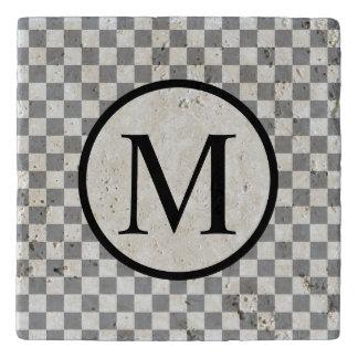 Simple Monogram with Grey Checkerboard Trivet
