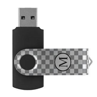Simple Monogram with Grey Checkerboard USB Flash Drive