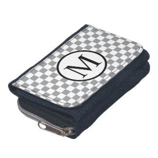 Simple Monogram with Grey Checkerboard Wallets