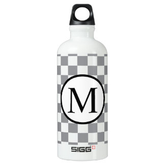 Simple Monogram with Grey Checkerboard Water Bottle