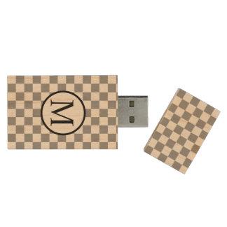 Simple Monogram with Grey Checkerboard Wood USB Flash Drive