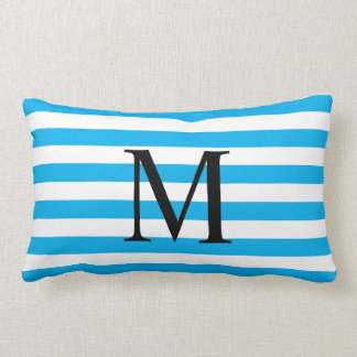 Simple Monogram with Horizontal Stripes Lumbar Cushion