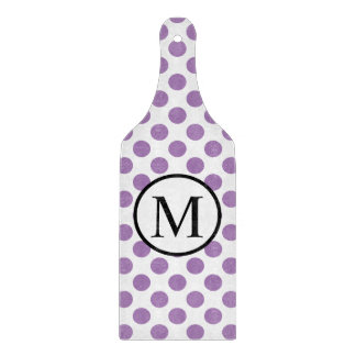 Simple Monogram with Lavender Polka Dots Cutting Board