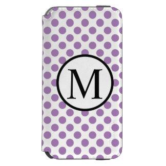 Simple Monogram with Lavender Polka Dots Incipio Watson™ iPhone 6 Wallet Case