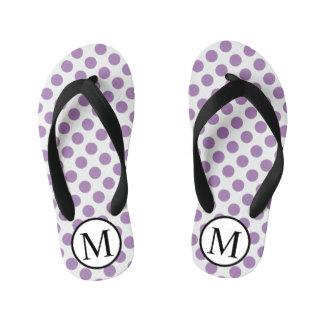 Simple Monogram with Lavender Polka Dots Kid's Thongs