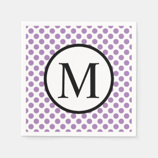 Simple Monogram with Lavender Polka Dots Paper Napkin