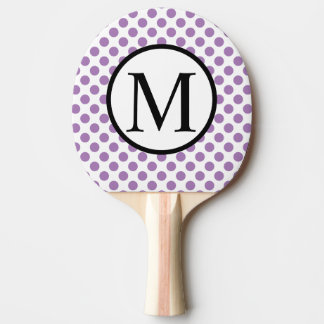 Simple Monogram with Lavender Polka Dots Ping Pong Paddle