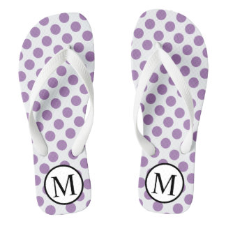 Simple Monogram with Lavender Polka Dots Thongs