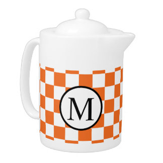 Simple Monogram with Orange Checkerboard