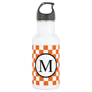 Simple Monogram with Orange Checkerboard 532 Ml Water Bottle