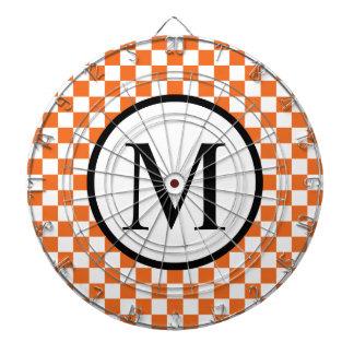 Simple Monogram with Orange Checkerboard Dart Boards