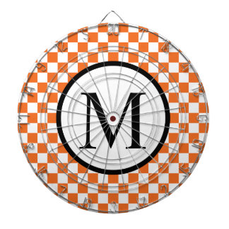 Simple Monogram with Orange Checkerboard Dartboard