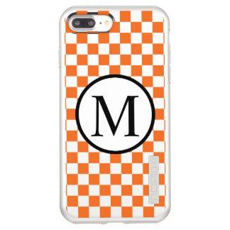 Simple Monogram with Orange Checkerboard Incipio DualPro Shine iPhone 8 Plus/7 Plus Case