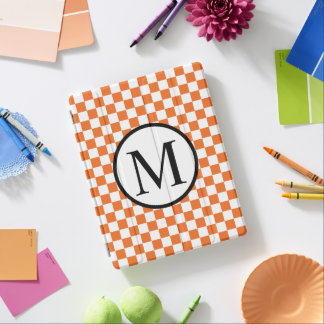 Simple Monogram with Orange Checkerboard iPad Cover