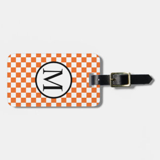 Simple Monogram with Orange Checkerboard Luggage Tag