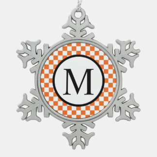 Simple Monogram with Orange Checkerboard Pewter Snowflake Decoration