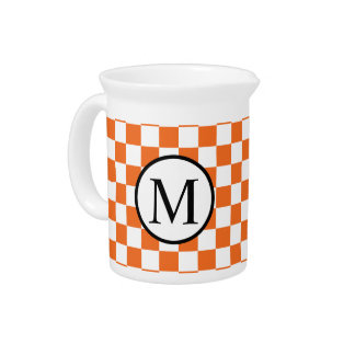 Simple Monogram with Orange Checkerboard Pitcher