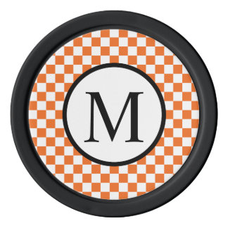 Simple Monogram with Orange Checkerboard Poker Chips