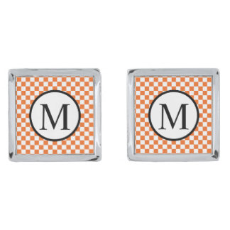 Simple Monogram with Orange Checkerboard Silver Finish Cufflinks