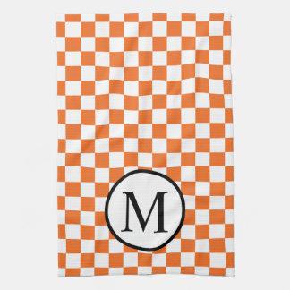 Simple Monogram with Orange Checkerboard Tea Towel