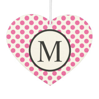 Simple Monogram with Pink Polka Dots Car Air Freshener