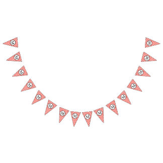 Simple Monogram with Red Checkerboard Bunting