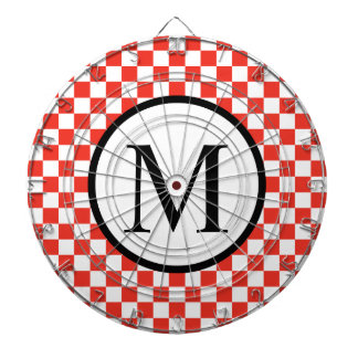 Simple Monogram with Red Checkerboard Dartboard