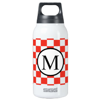 Simple Monogram with Red Checkerboard Insulated Water Bottle
