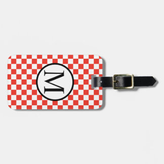 Simple Monogram with Red Checkerboard Luggage Tag