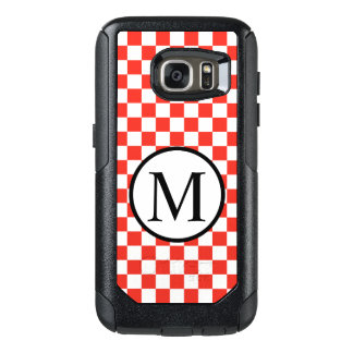 Simple Monogram with Red Checkerboard OtterBox Samsung Galaxy S7 Case