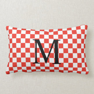 Simple Monogram with Red Checkerboard Pattern Lumbar Cushion