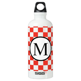 Simple Monogram with Red Checkerboard SIGG Traveller 0.6L Water Bottle
